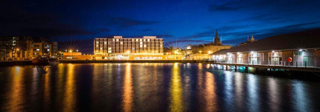Apex City Quay Hotel & Spa Exterior at night